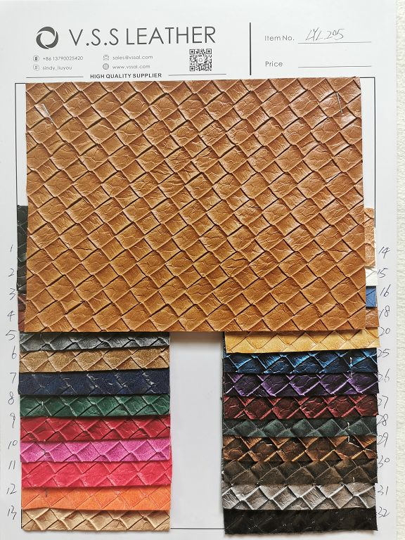 Plaid Synthetic Leather Fabric